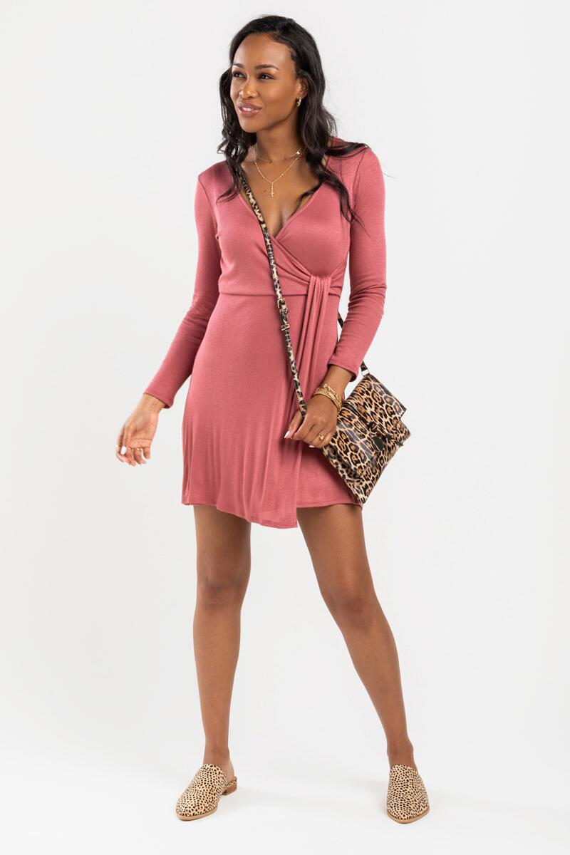 Frida Knit Wrap Dress- Mauve 2