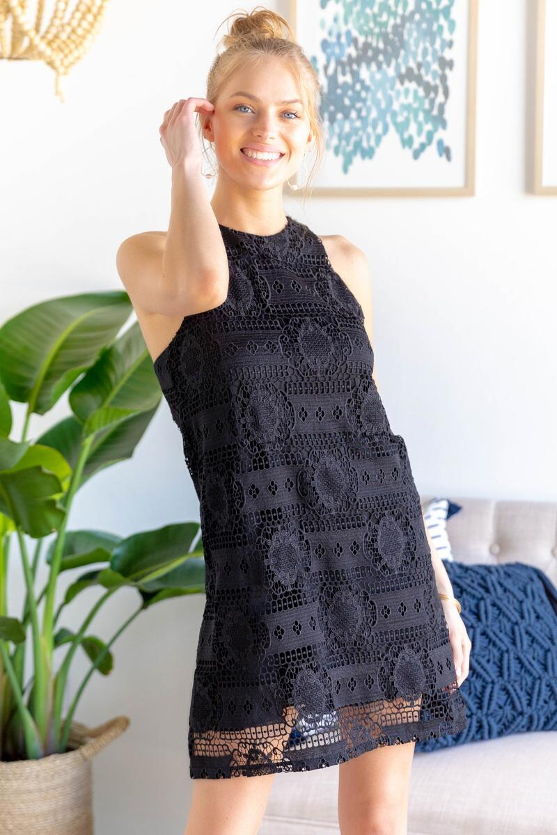 Arabella Crochet Shift Dress-Black