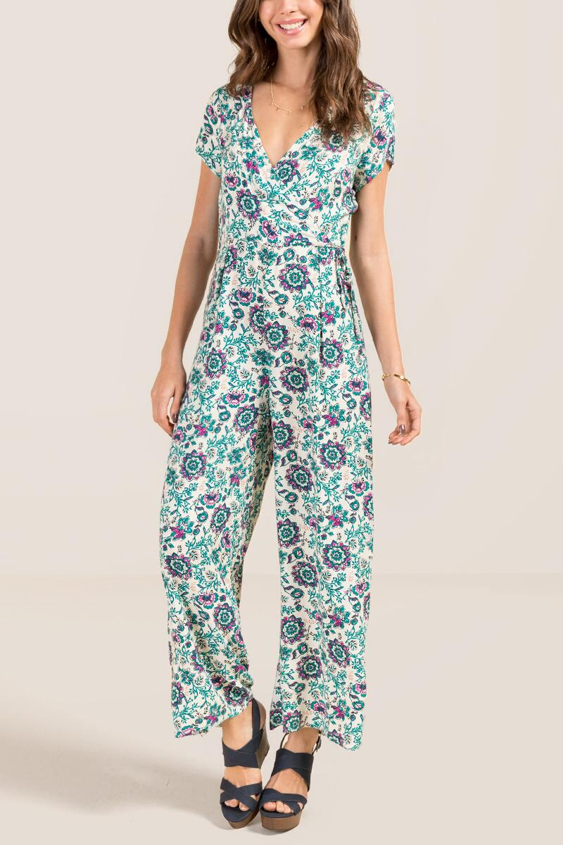 Efrin Surplus Pocket Floral Jumpsuit-  ivry-cl