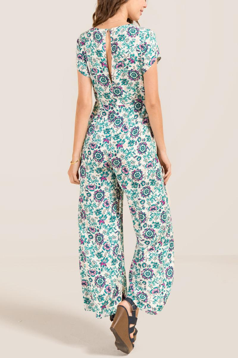 Efrin Surplus Pocket Floral Jumpsuit-  ivry-clback