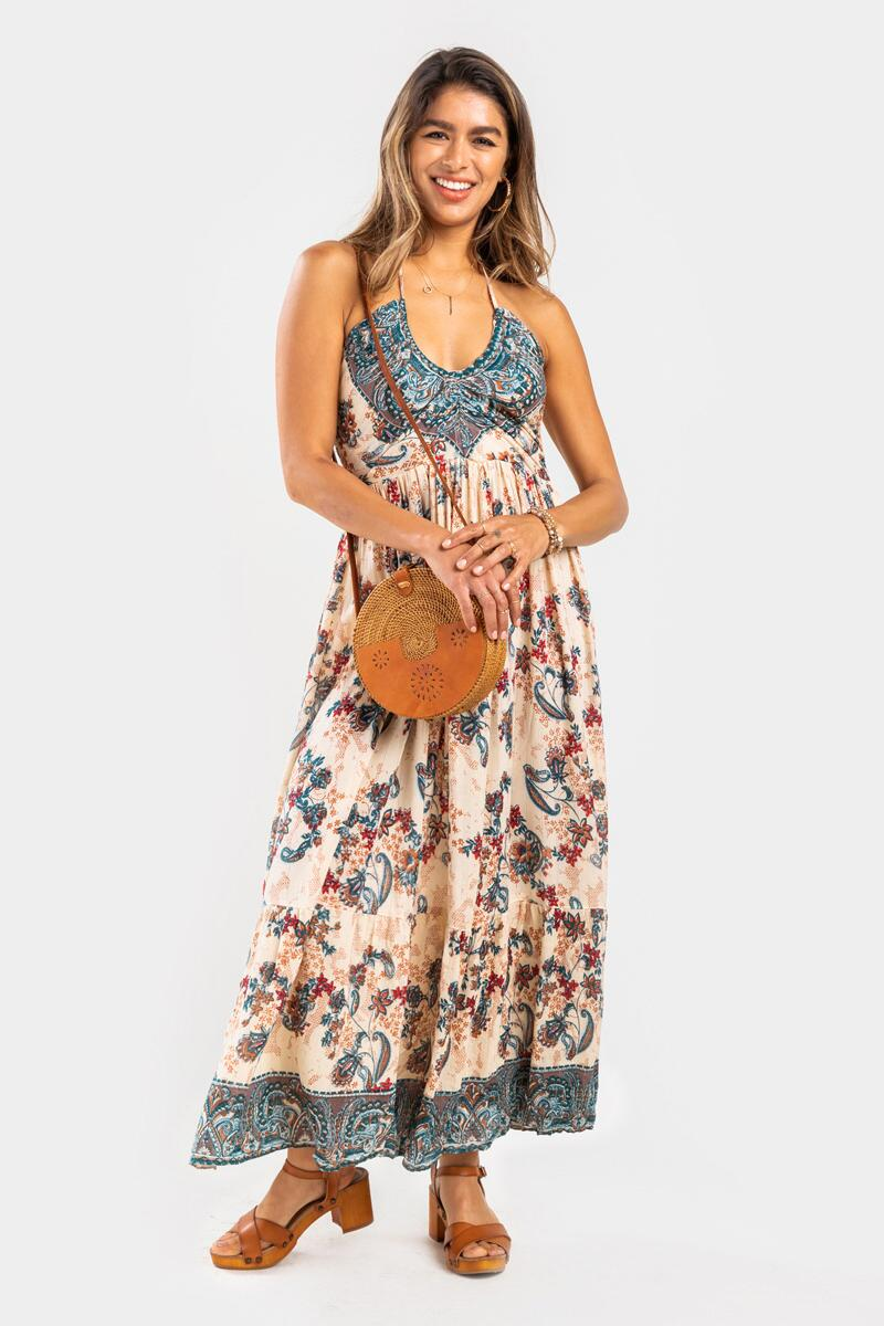 Nick Floral Medallion Halter Maxi Dress- Ivory