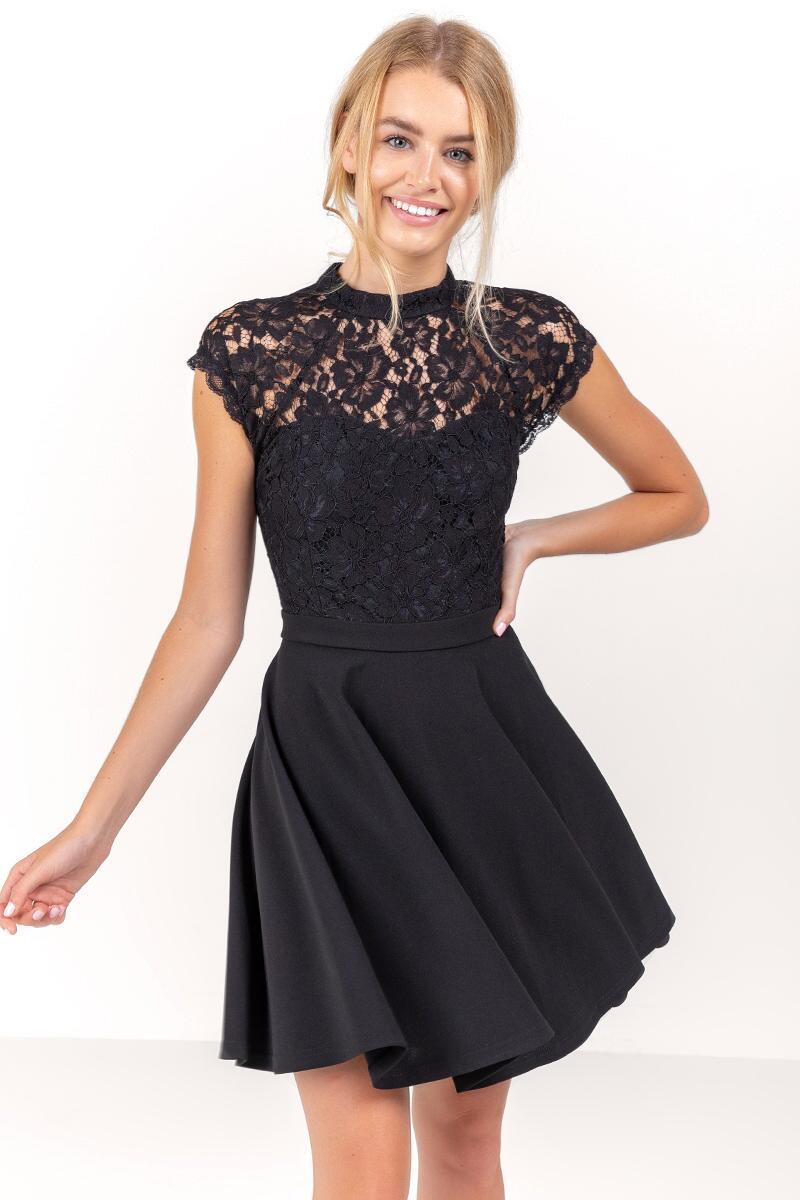 Stella Open Back Lace Dress-  blk-cl