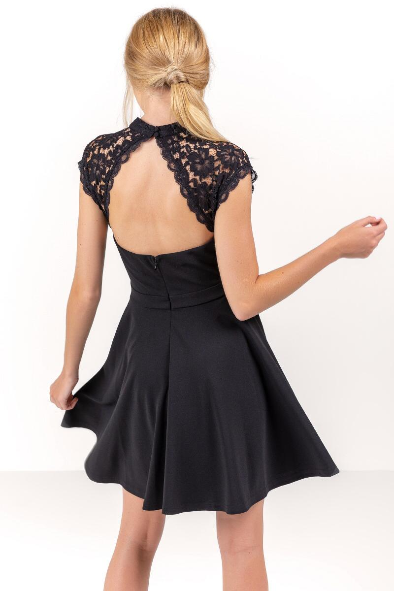 Stella Open Back Lace Dress-  blk-cl2