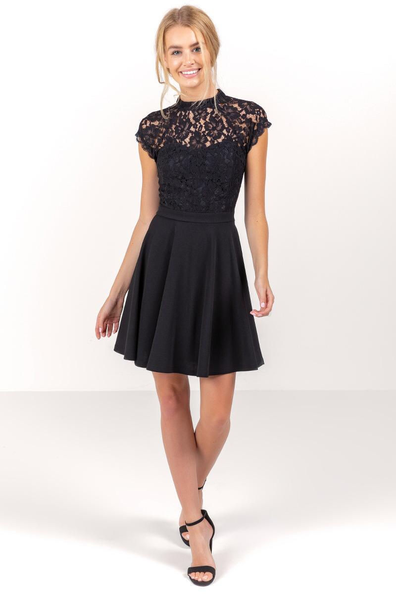 Stella Open Back Lace Dress-  blk-cl4