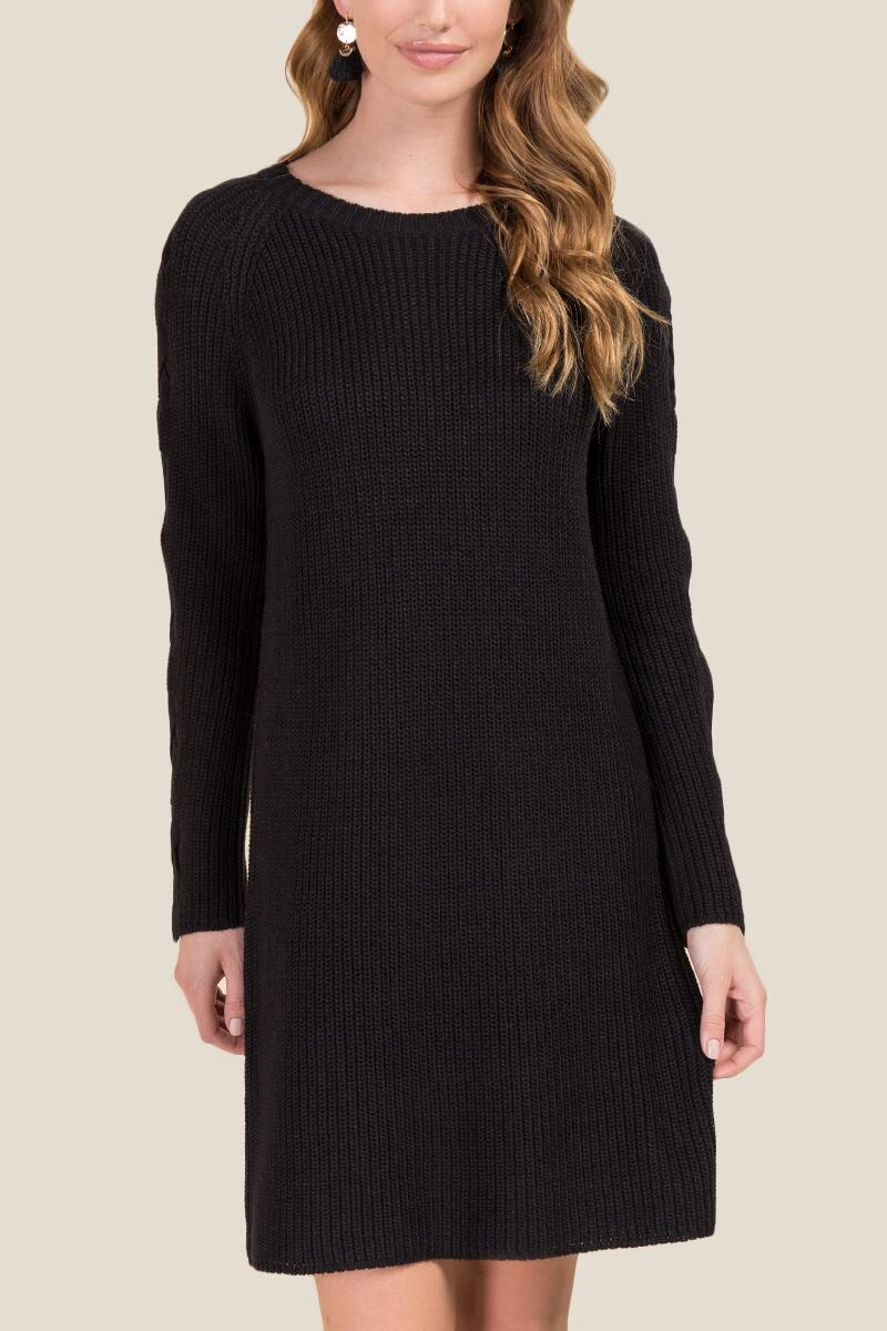 Prue Lace-Up Sleeve Sweater Dress