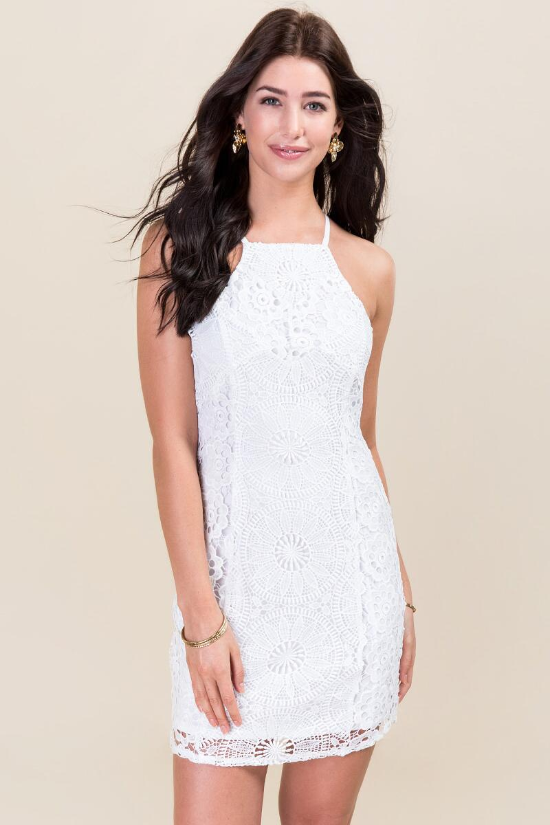 Caylee Lace Shift Dress-  white-cl