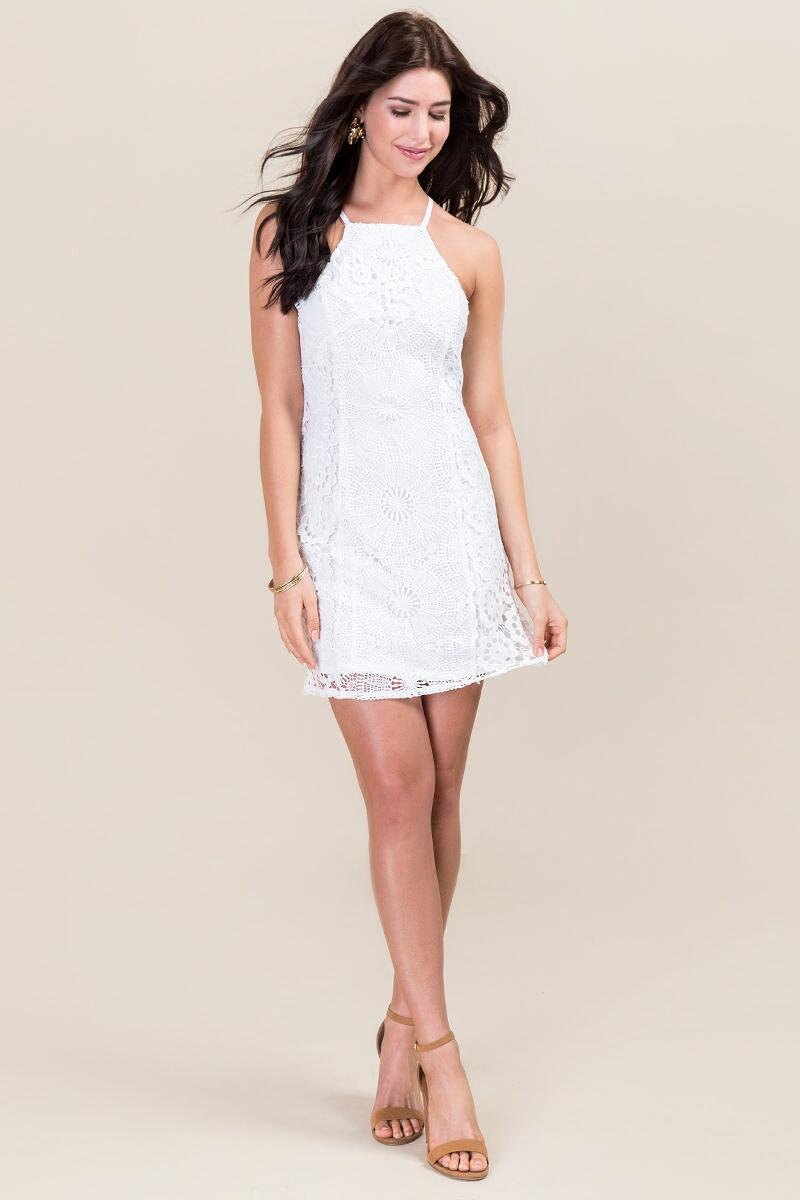 Caylee Lace Shift Dress-  white-clmodel