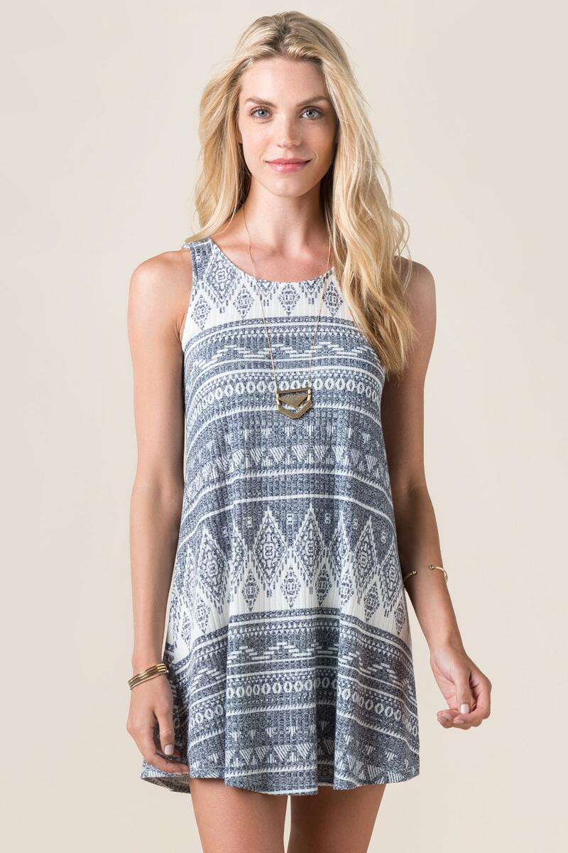 Dory Printed Shift Dress-  navy-cl