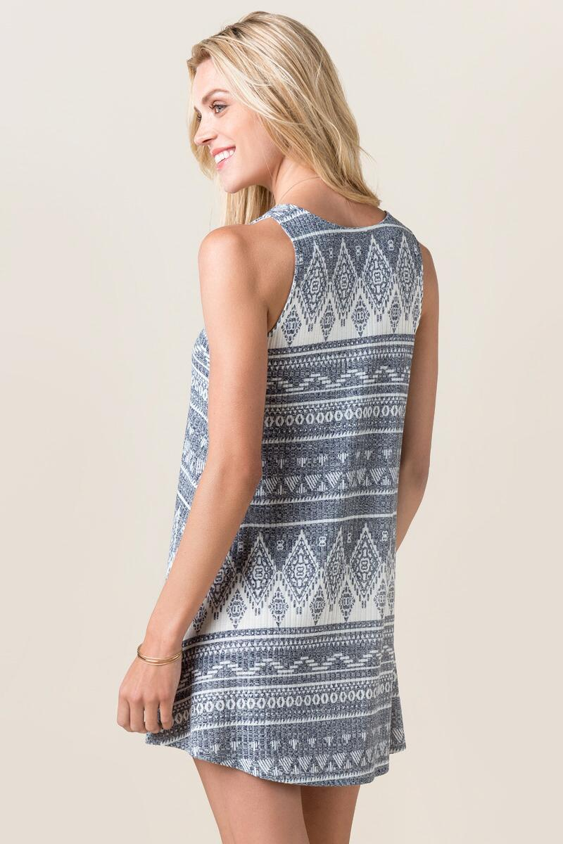 Dory Printed Shift Dress-  navy-clback