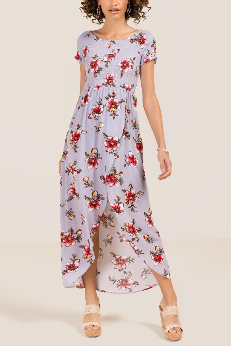 Siri Smocked Floral Maxi Dress-  orch-cl