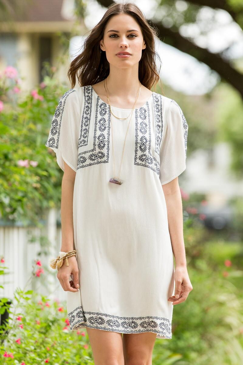 Brie Embroidered Shift Dress