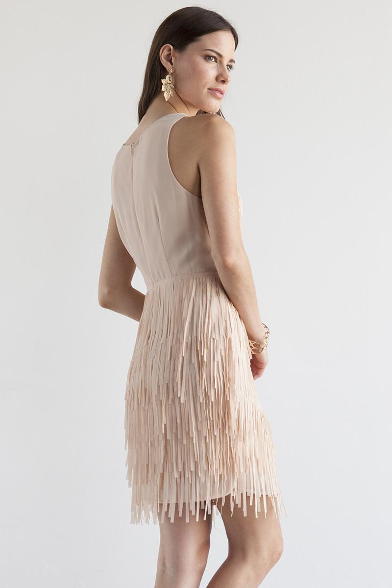 Sydney Fringe Dress-  kaki-clback