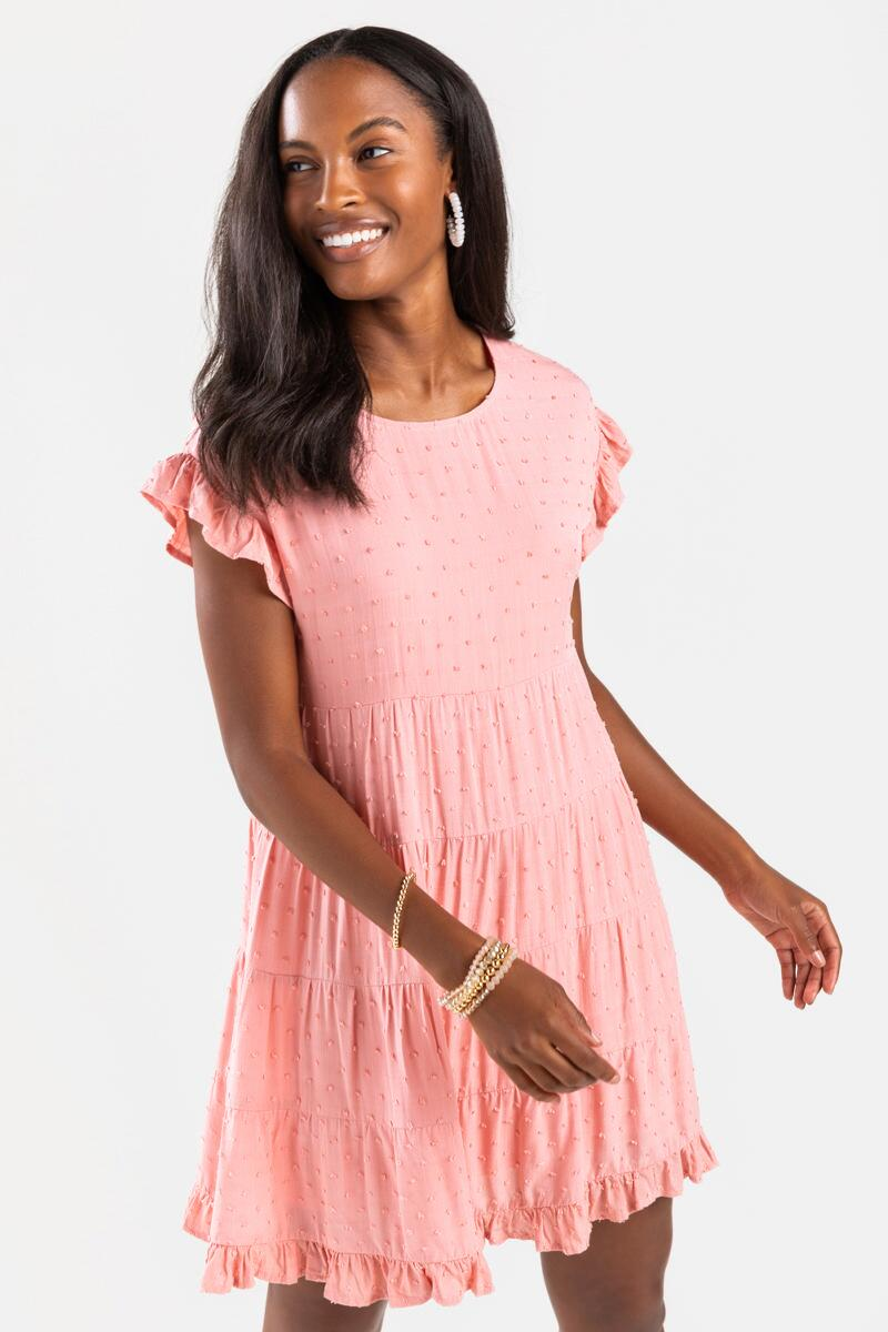 Sonny Clip Dot Mini Babydoll Dress-Blush