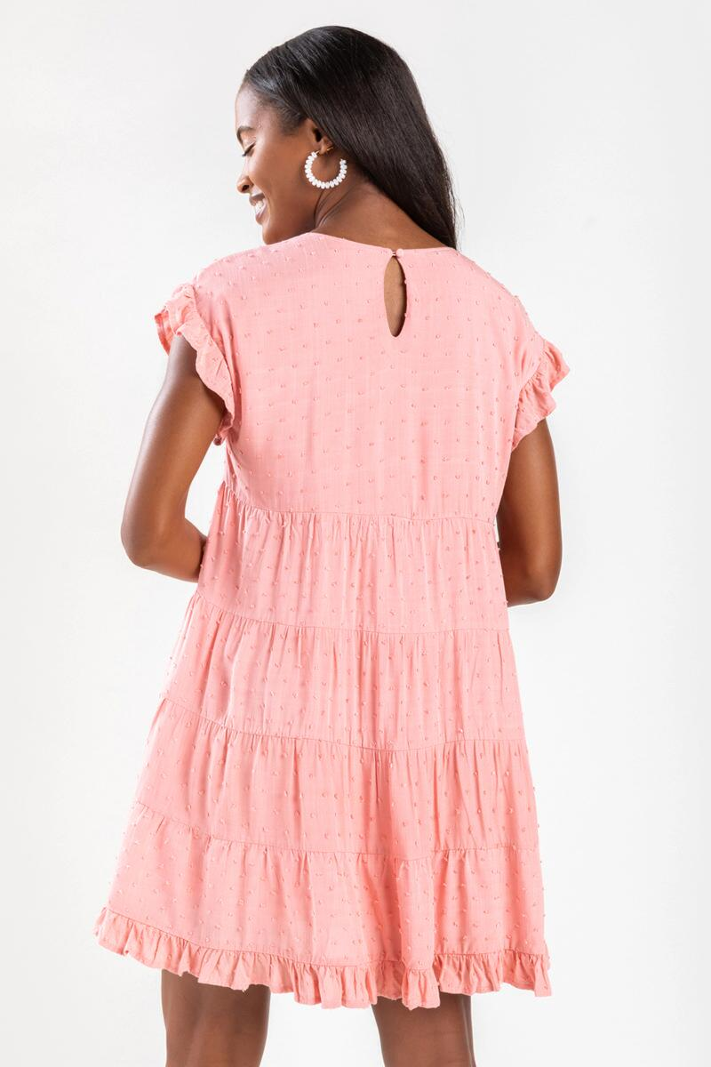 Sonny Clip Dot Mini Babydoll Dress-Blush 3