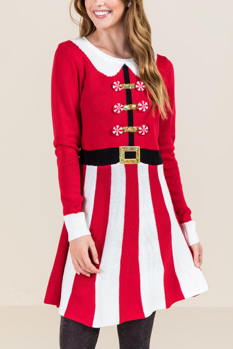 Peppermint Santa Sweater Dress-  red-cl