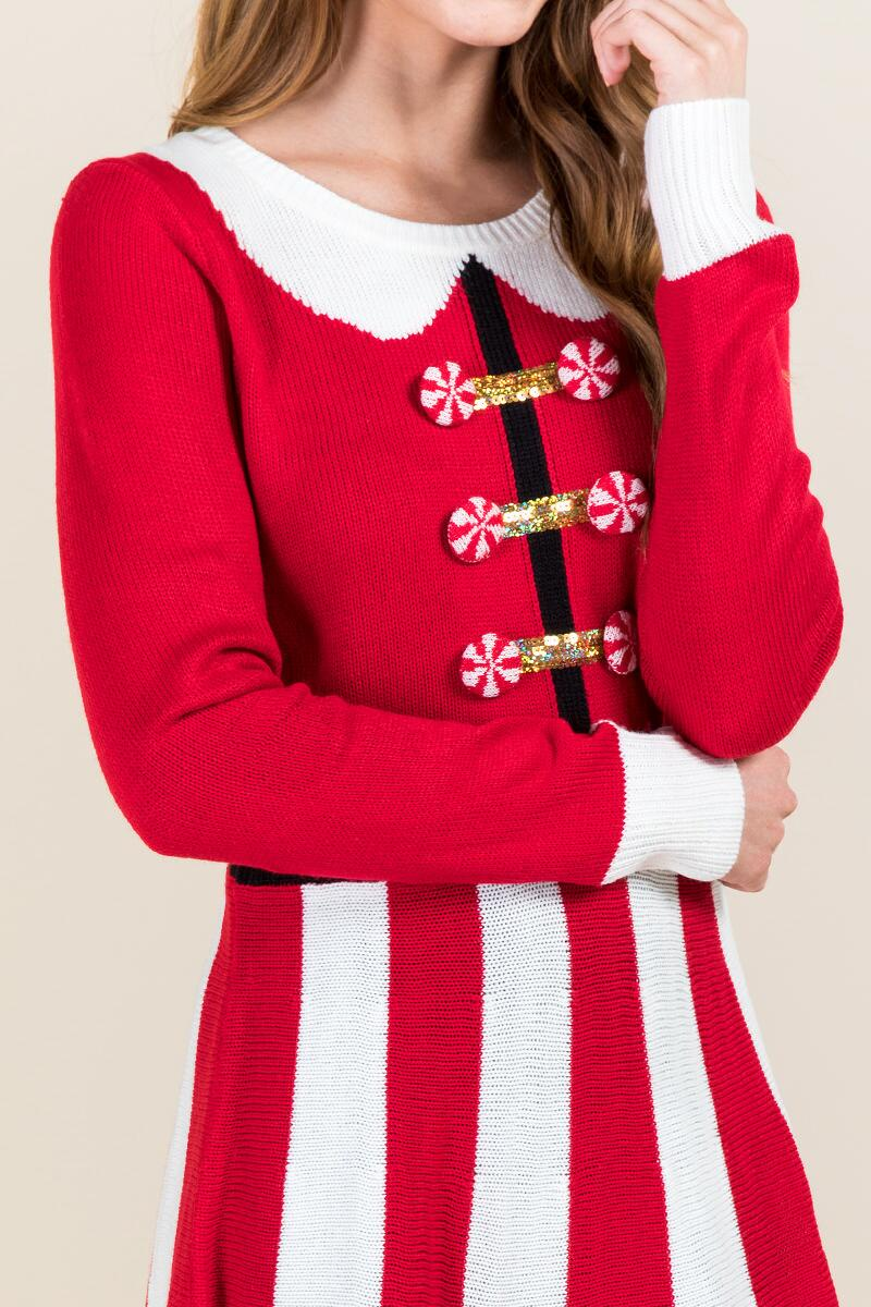 Peppermint Santa Sweater Dress-  red-clalternate