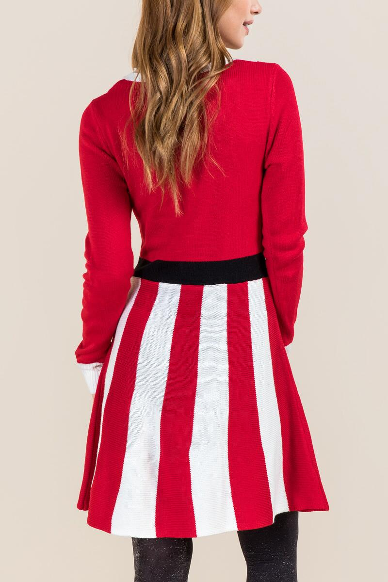Peppermint Santa Sweater Dress-  red-clback
