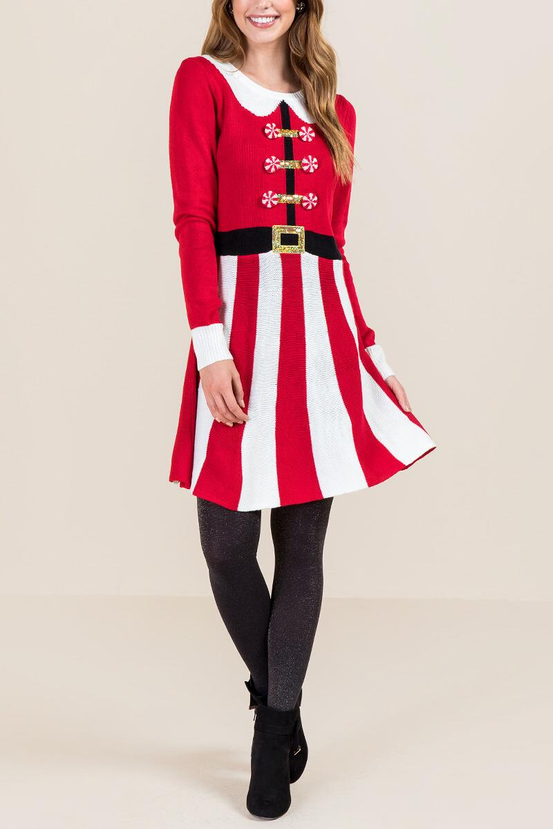 Peppermint Santa Sweater Dress-  red-clmodel