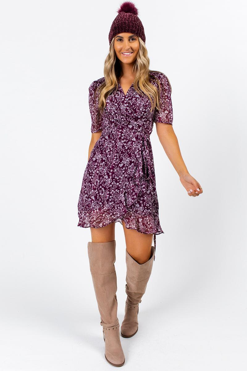 Albany Floral Wrap Dress- Purple