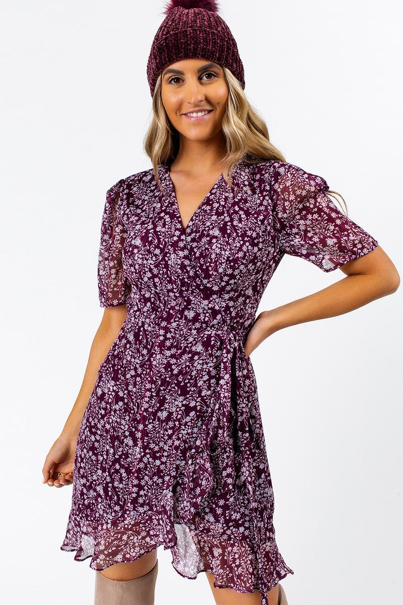 Albany Floral Wrap Dress- Purple 3