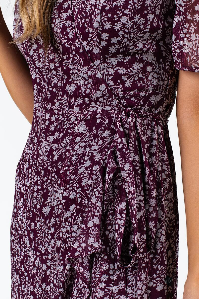 Albany Floral Wrap Dress- Purple 4
