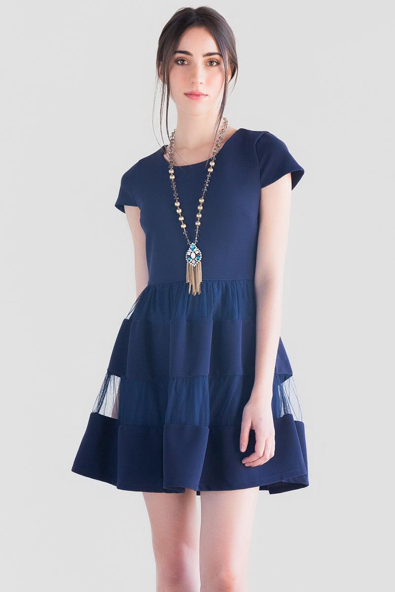 Clara Textured Dress-  navy-cl