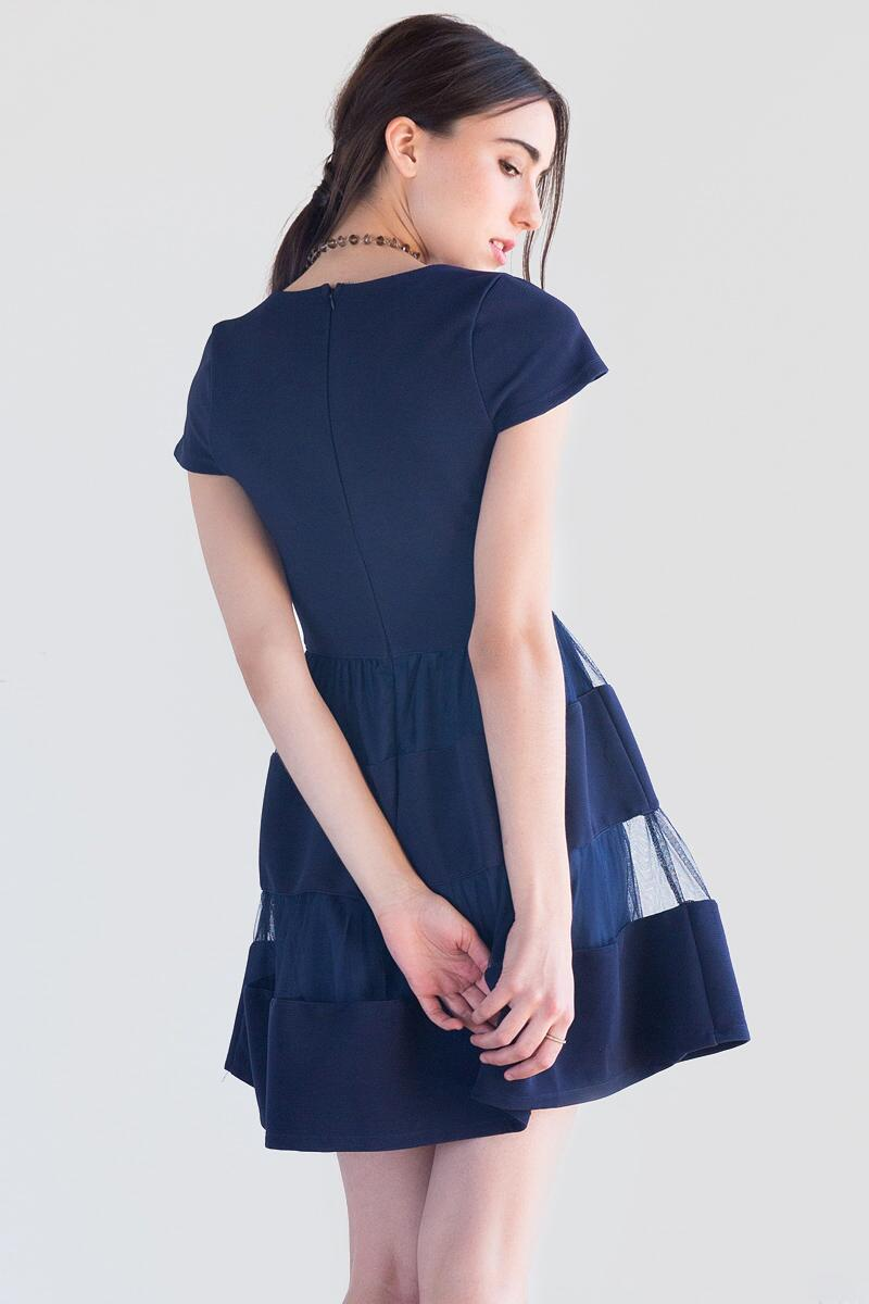 Clara Textured Dress-  navy-clback