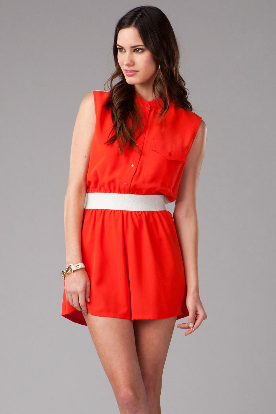 Croydon Button Down Romper-  red-cl