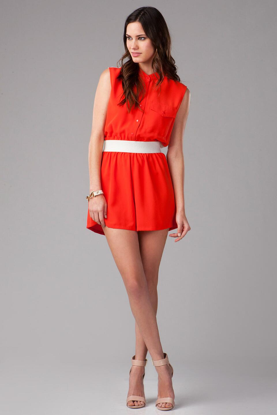 Croydon Button Down Romper-  red-clmodel