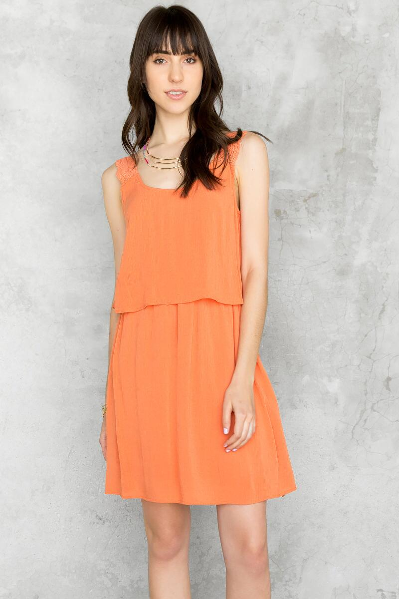 Juniper Layered Dress-  rust-cl