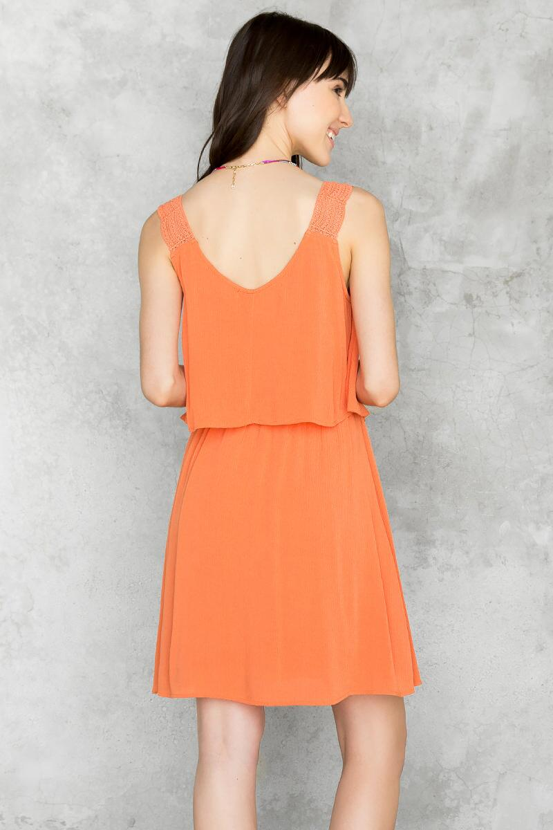 Juniper Layered Dress-  rust-clback