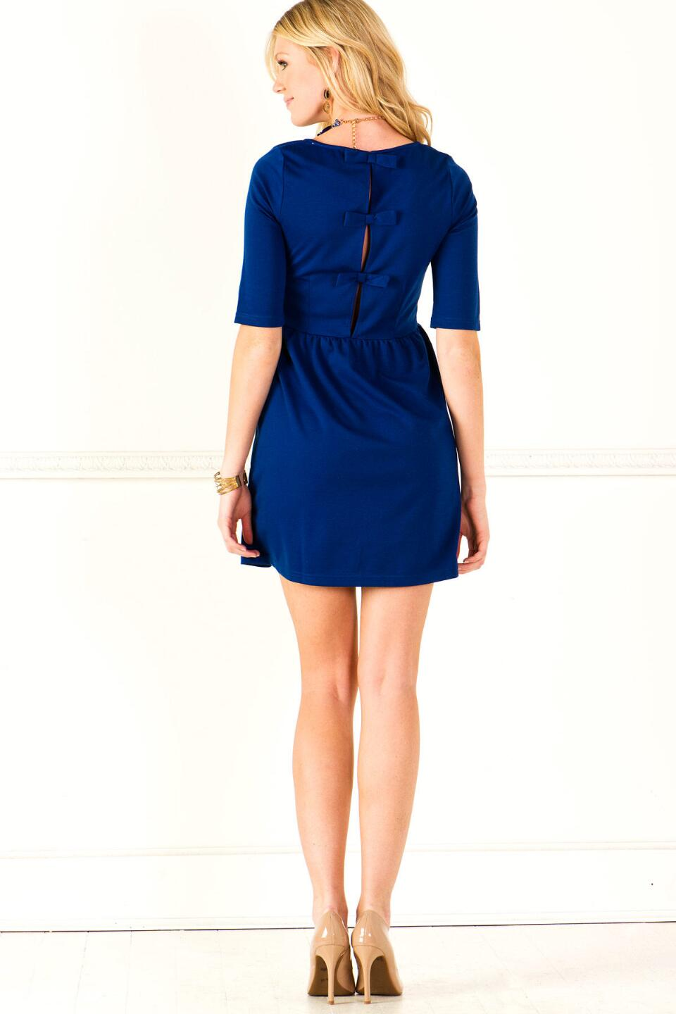 Peek-a-Bow Dress-  blueback