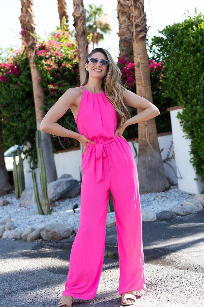 Flawless Solid Jumpsuit-  npink-cl