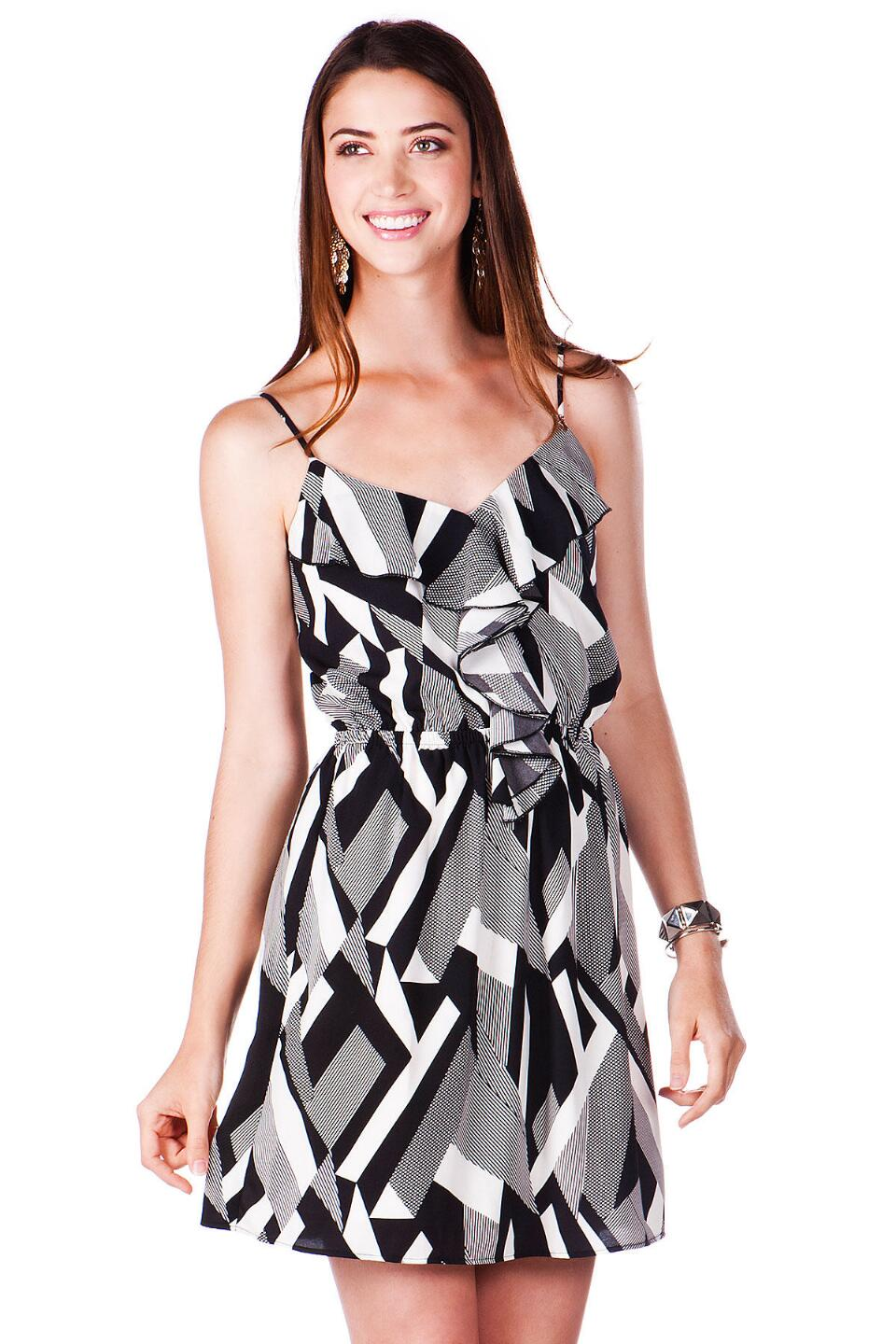 La Vista Printed Dress-  blk-cl
