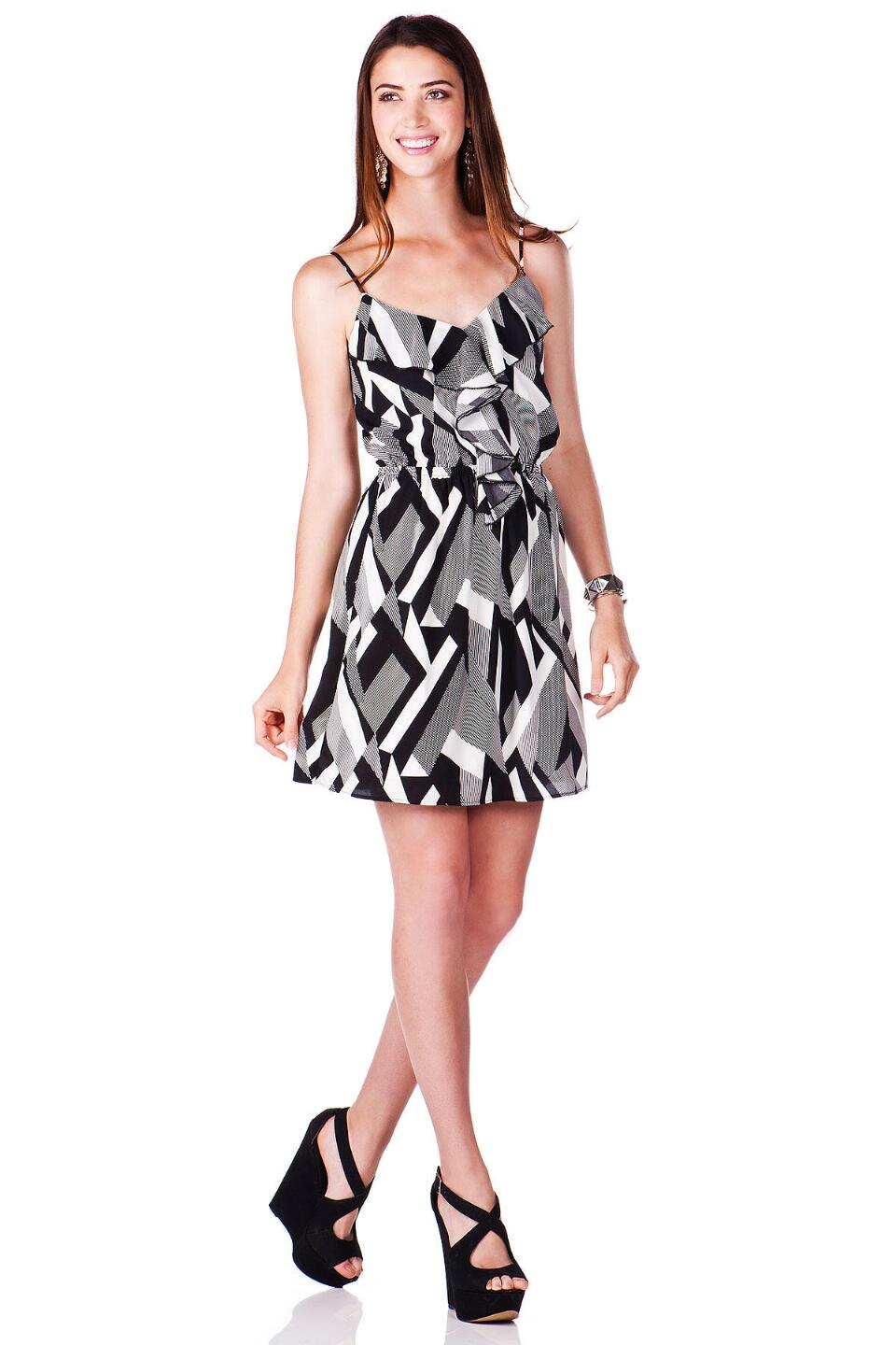 La Vista Printed Dress-  blk-clmodel