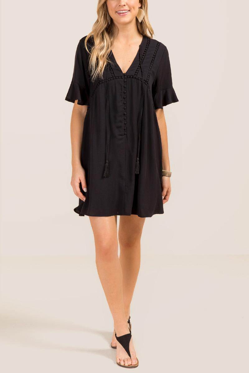 Genevieve Button Front Shift-  blk-clmodel