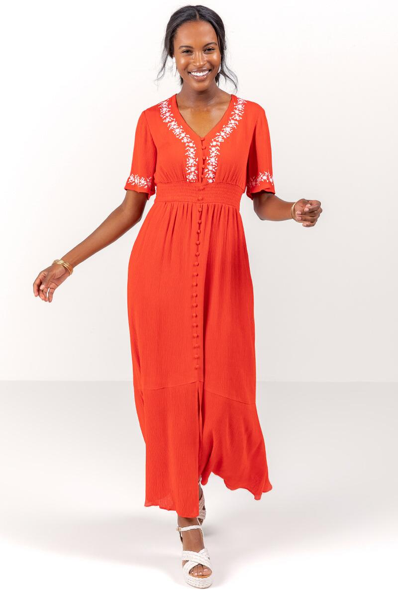 Giselle Embroidered Maxi Dress-  bred-cl