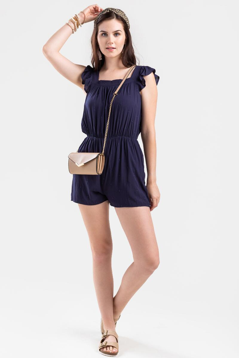 Alice Swiss Dot Romper- Navy 2