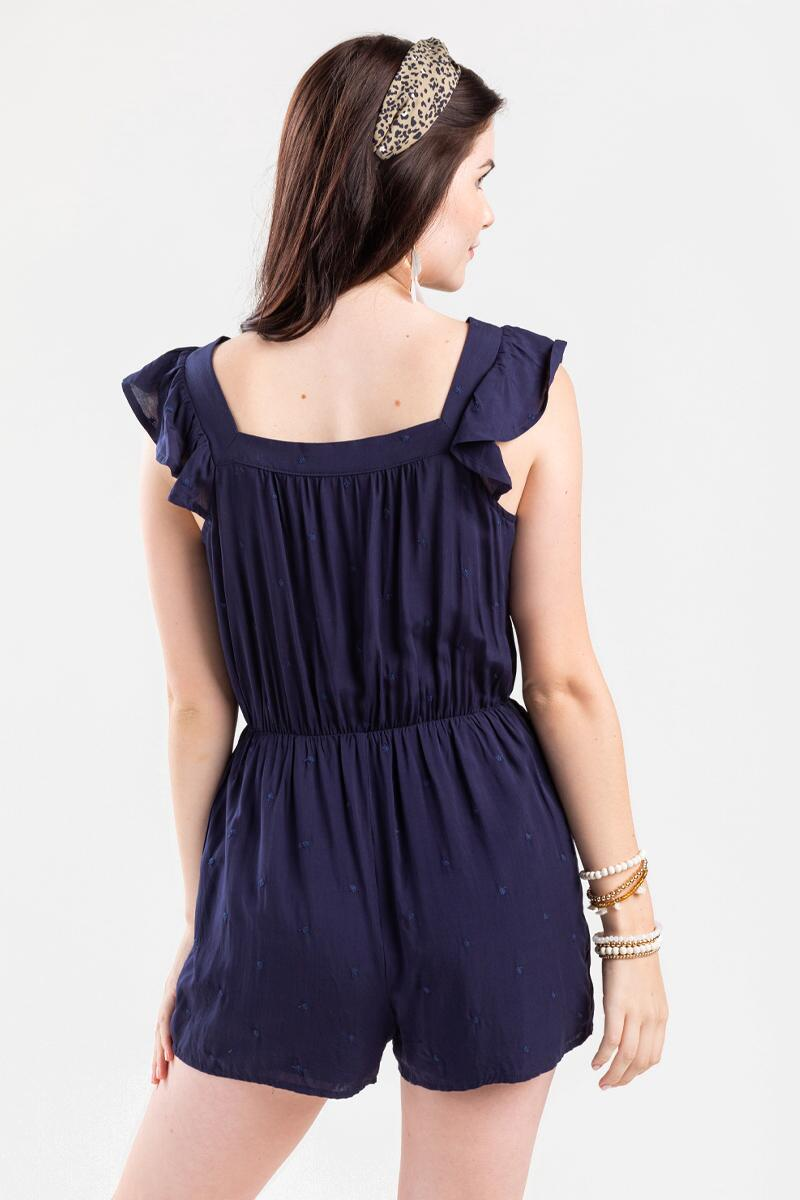 Alice Swiss Dot Romper- Navy 3