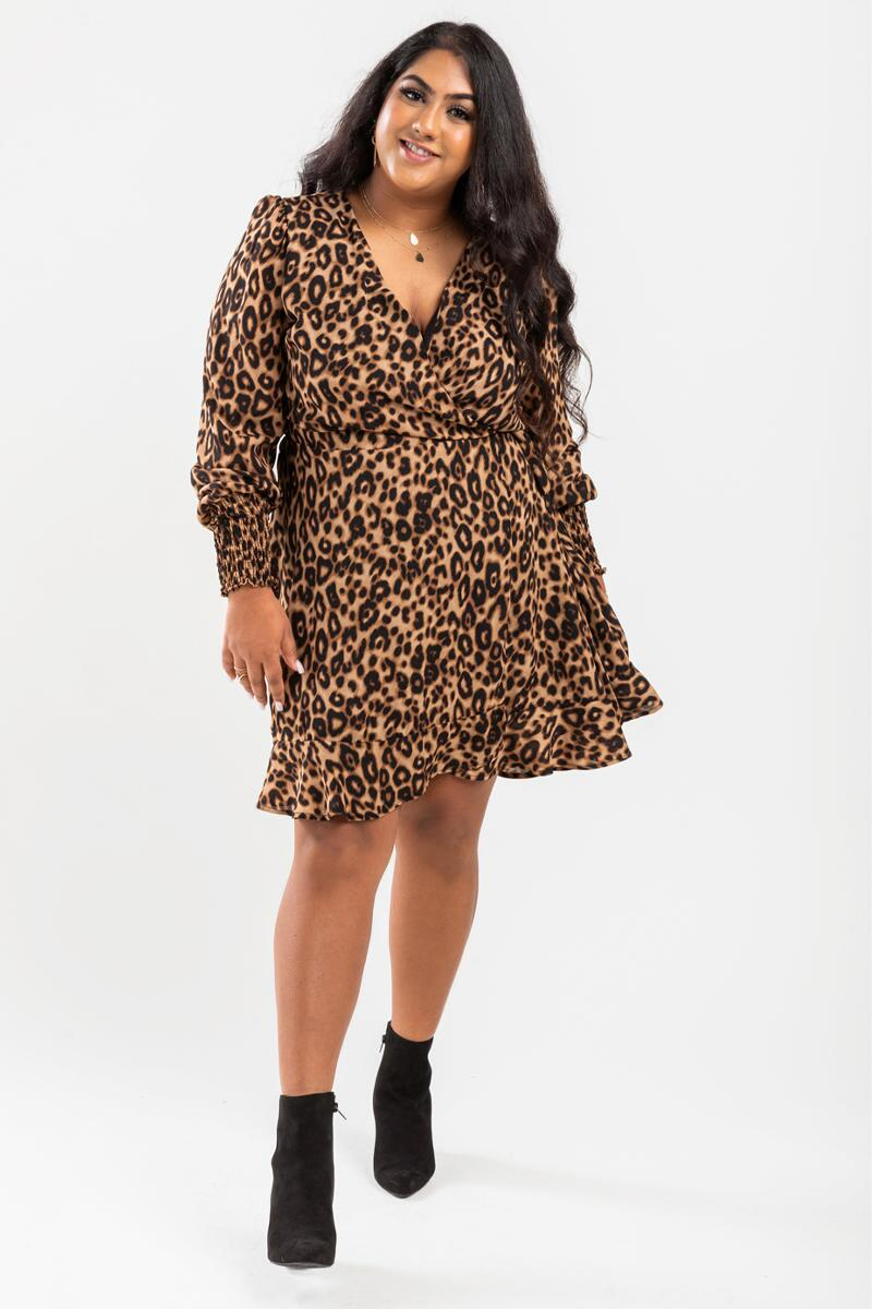 Alessa Leopard Wrap Mini Dress- Brown 2