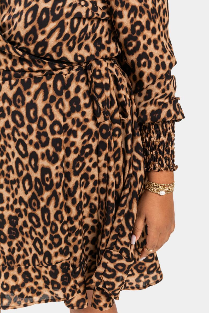 Alessa Leopard Wrap Mini Dress- Brown 4