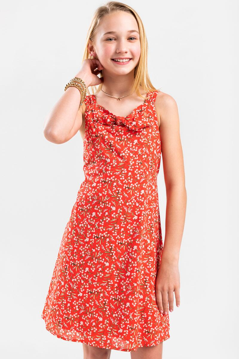 franki Floral Front Bow Dress for Girls- Red