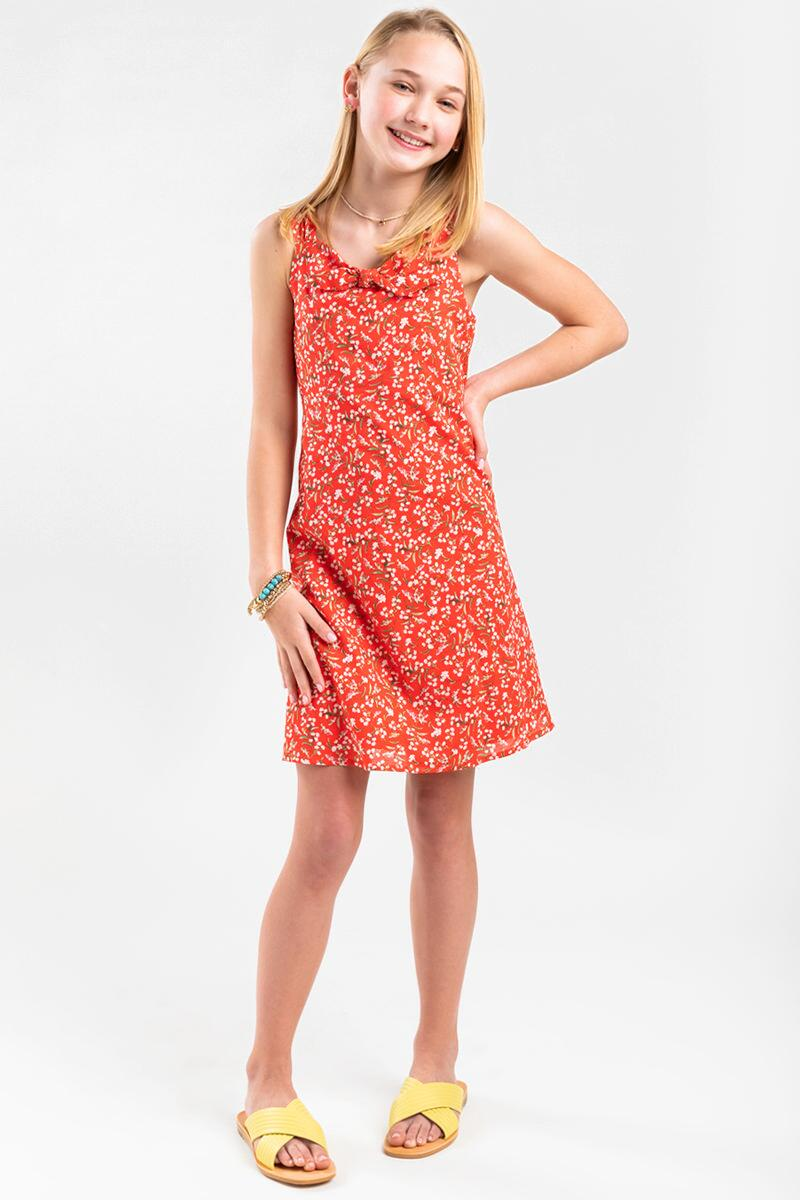 franki Floral Front Bow Dress for Girls- Red 2