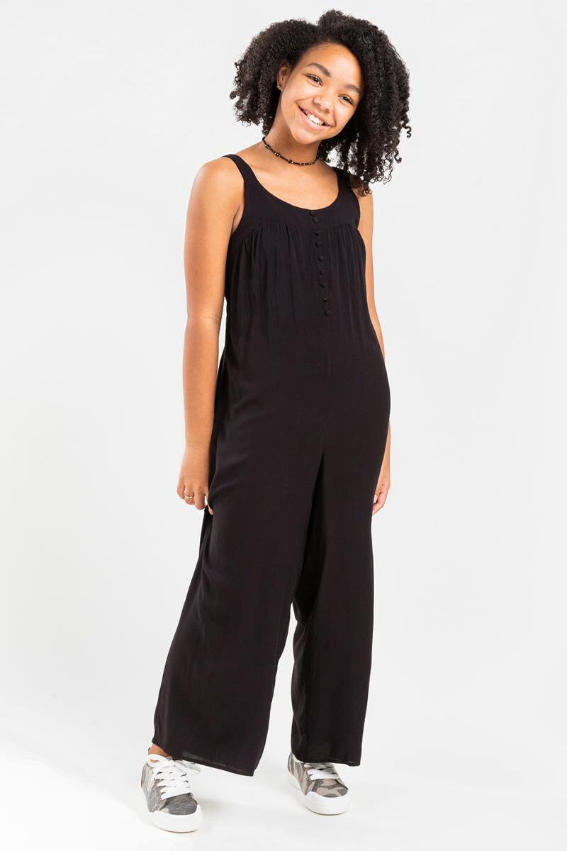 franki Button Front Jumpsuit for Girls- Black