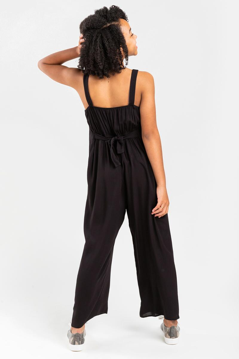 franki Button Front Jumpsuit for Girls- Black 2