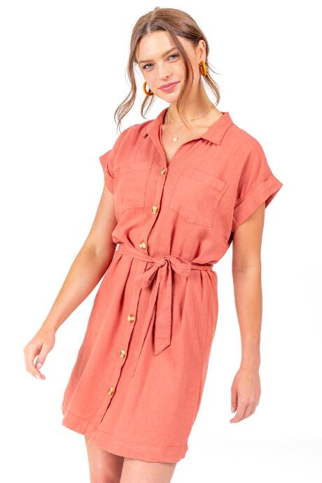 Donielle Belted Shirt Dress