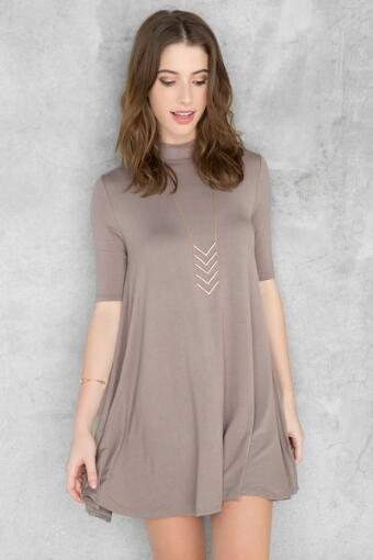 Evans High Neck Solid Dress