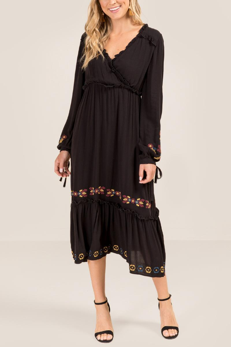 Savvy Embroidered Midi Dress-  blk-cl