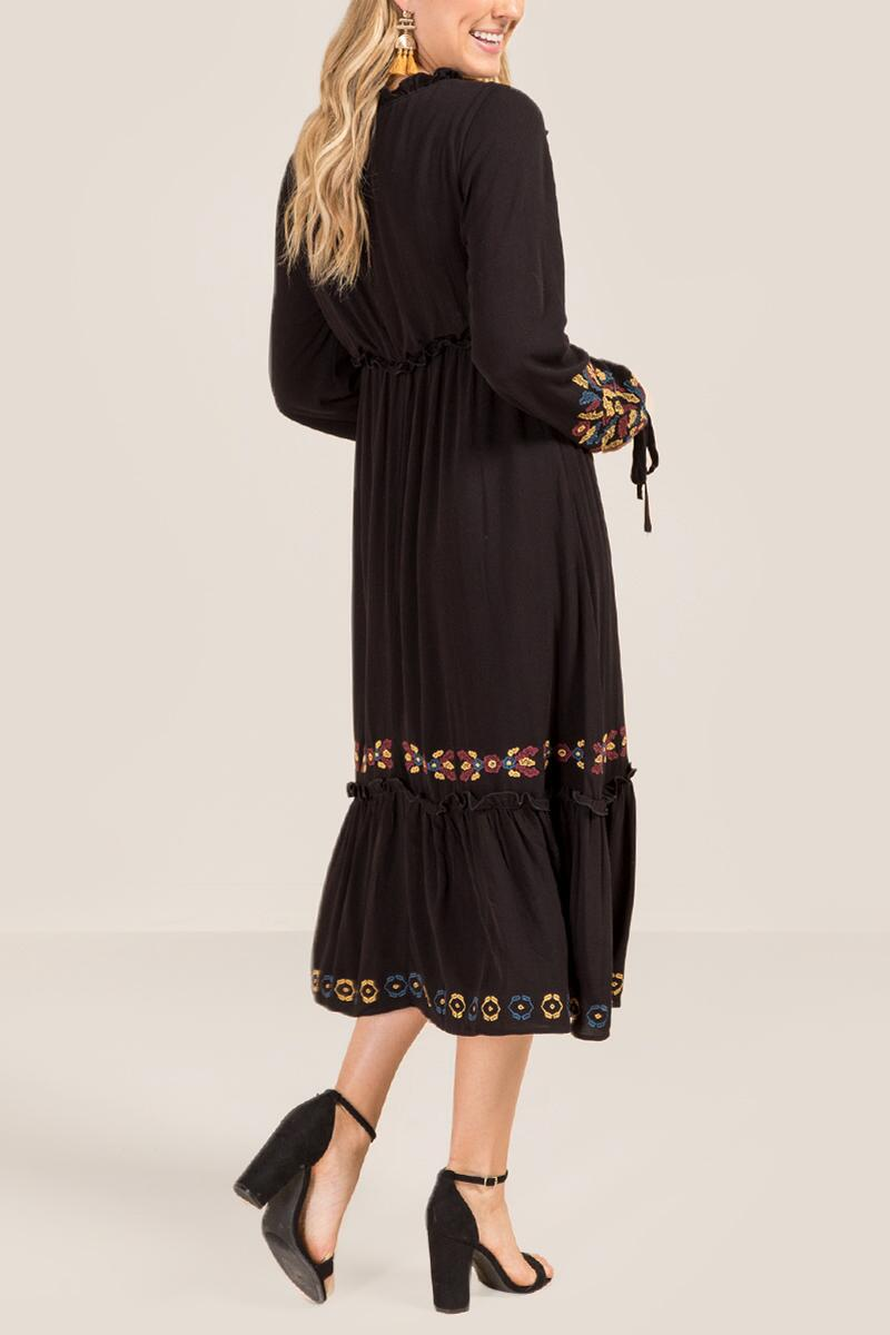 Savvy Embroidered Midi Dress-  blk-clback