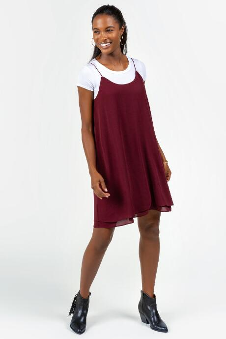 Adalynn Double Layer Dress - Burgundy